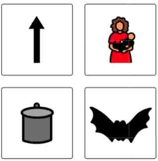 Response plate for phoneme segmentation:  up, mom, pot, bat.