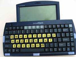 "DynaWrite keyboard adapted to emphasize lowercase ""qwerty"" letters"